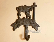 Western Metal Art Wall Hook -Cowboy at the Cross Welcome