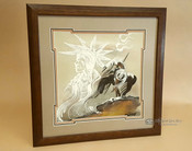 """Native American Framed Sand Painting 18""""-End Of Trail"""
