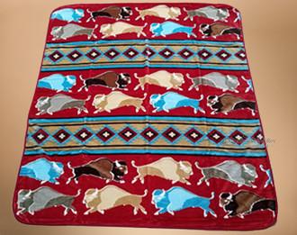 Luxury Plush Western Design Blanket -Buffalo