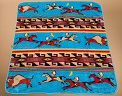Luxury Plush Western Design Blanket -Turquoise Ledger Art
