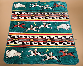 Plush Green Southwestern Design Blanket - Ledger Art