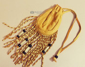 Twisted Fringe Beaded Deer Skin Medicine Pouch