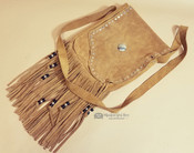 Large Fringed Suede Medicine Bag or Purse 8x11""