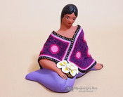 Sitting Woman Pottery Figurine