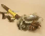Beaded Antler Pipe With Hand Carved Eagle Head