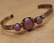 Small Navajo  Sterling Silver Cuff -Pink Opal (ij706)