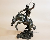 Cold Cast Bronze Statue -Rodeo Cowboy & Horse