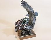 Cold Cast Bronze Sculpture -Eagle & Flag
