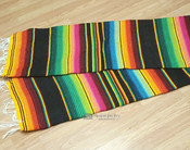 Southwest Serape Blanket 5'x7' -Black