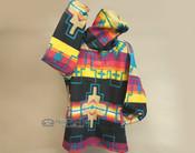 Southwestern Fleece Pullover Hoodie -Black