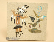 Native American Navajo Sand Painting 4""