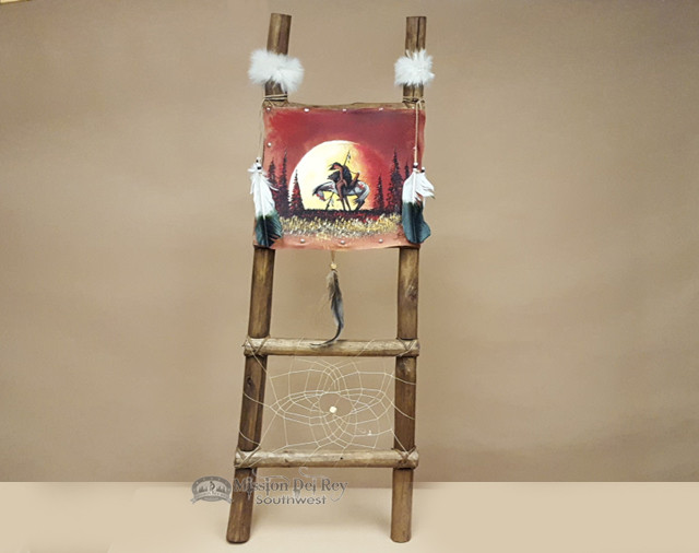Hand Painted Hide Rack Log Kiva Ladder End Of The Trail
