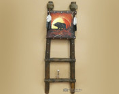 Hand Painted Hide Rack & Log Kiva Ladder -Moonlit Bear