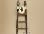 Hand Painted Hide Rack & Log Kiva Ladder -Eagle