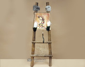 Hand Painted Hide Rack & Log Kiva Ladder -Kokopelli