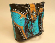 Western Design Handbag -Turquoise