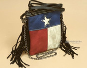 Western Fringed Messenger Bag -Texas Lone Star