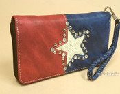 Western Zipper Wallet Bag -Texas Lone Star