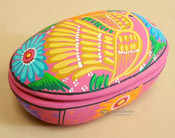 Hand Painted Mexican Clay Jewelry Box with Lid