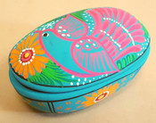 Clay Hand Painted Pottery -Oval Jewelry Box  (p619)