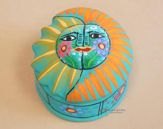 Hand Painted Southwestern Jewelry Box -Sun Face