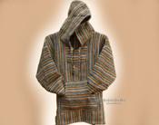 Premium Woven Baja Hoodie Sweatshirt -Tan