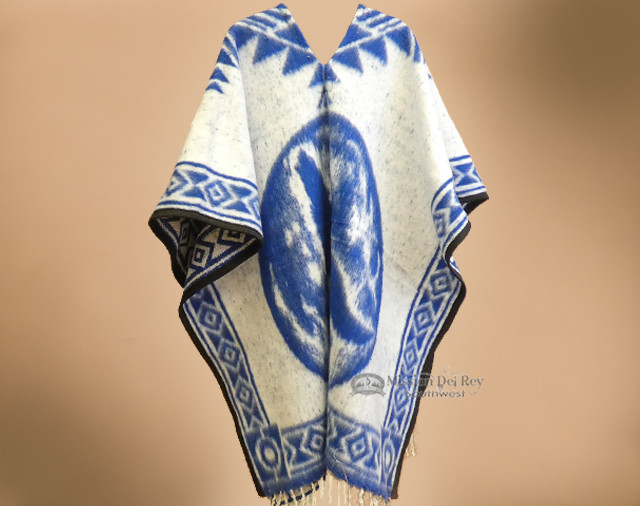 Blue Mexican Blanket Poncho -Wolf (p98)