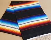 Southwestern Mexican Style Serape Table Runner -Black