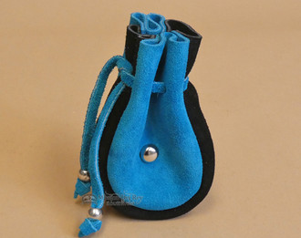 Turquoise and Black Deer Leather Medicine Pouch