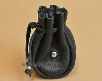 Black Leather Medicine Pouch with Metal Beading