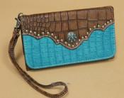 Southwestern Faux Crocodile Leather Wallet