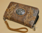 Woman's Western Tooled Faux Leather Wallet