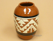 "Native American Glazed Clay Jar Vase 6.5"" -Lakota"