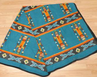 Soft Southwestern Fleece Lodge Blanket - Turquoise