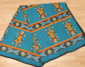 Soft Southwestern Fleece Lodge Blanket - Turquoise