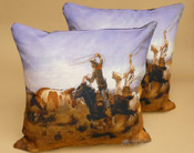 Pair of Rustic Western Pillow Covers -Cattle Drive