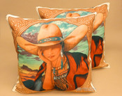 Pair of Western Cowgirl Pillow Covers -Sierra