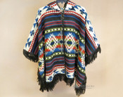 Southwestern Woven Wool Button Cape -Dark Brown