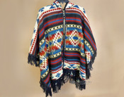Southwest Design Woven Cape -Navy