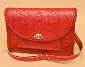 Red Hand Tooled Leather Purse