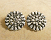 Navajo White Buffalo and Silver Cluster Earrings