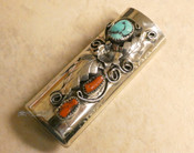 Navajo Turquoise and Coral Lighter Case