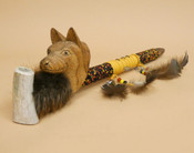 Beaded Antler Pipe With Hand Carved Wolf