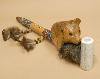 Beaded Antler Pipe With Hand Carved Bear