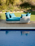 Woven daybed and cushions, brand new, discontinued stock (driftwood color and Sunbrella® fabric cushions) - STK39