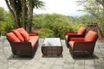 Woven set, brand new, discontinued stock - 2 x deep seating three-seater sofas (java color and Sunbrella® fabric cushions) and 1 x woven rectangular coffee table (java color and tempered glass insert) - KSET2