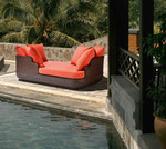Woven daybed and cushions, brand new discontinued stock (java color and Sunbrella® cushions) - STK40