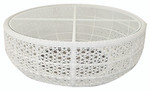 Small woven circular coffee table, brand new, discontinued stock (driftwood color and tempered glass insert) - STK41