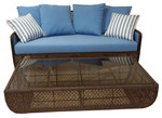 Woven sofa (java color and Sunbrella® cushions) and rectangular coffee table set (java weave and tempered glass top), showroom samples - TAG254