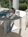 "Cayman Circular Dining Table 59"", new, discontinued stock (Arctic White Frame and Ash Ceramic Top) - 2CYC15.02.800"